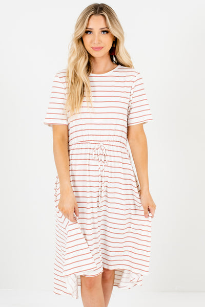 White Mauve Striped High Low Dresses Affordable Online Boutique