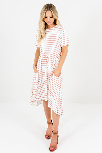 White Mauve Striped Comfy Knee-Length High Low Dresses