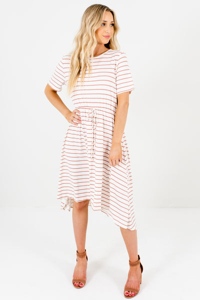 White Mauve Striped High Low Knee Length Boutique Dresses