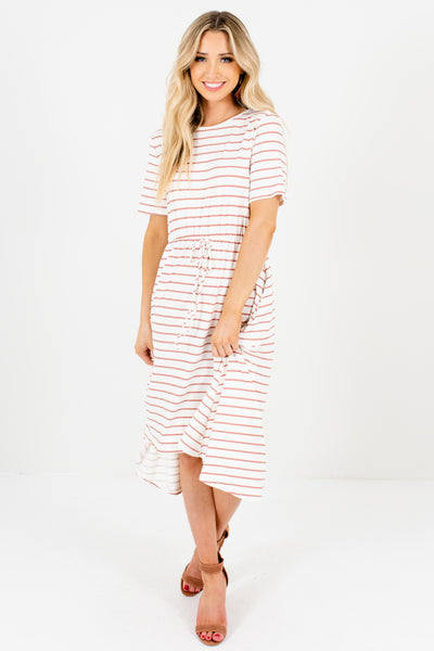 White Mauve Striped Boutique High Low Dresses with Pockets