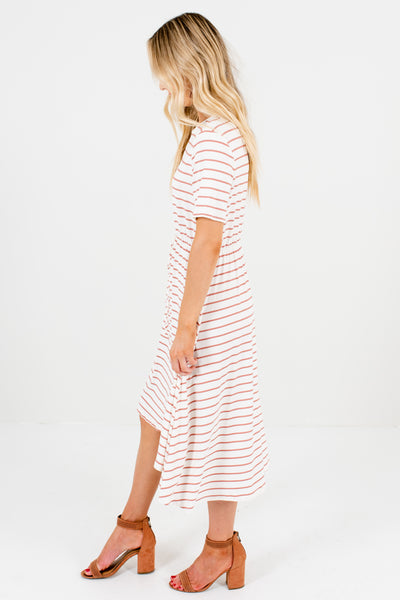 White Mauve Striped High Low Knee-Length Dresses for Women