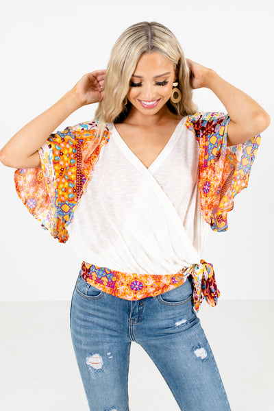 Cream Wrap Style Boutique Blouses for Women