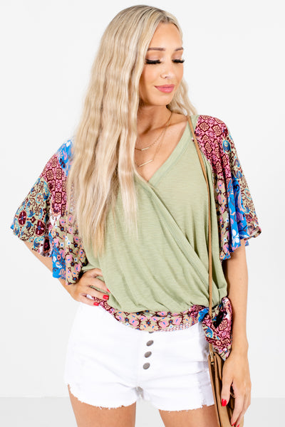 Green Open Back Boutique Blouses for Women