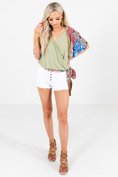 Women's Green Bohemian Style Boutique Blouse