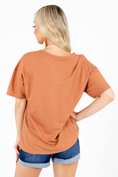 Women's Orange V-Neckline Boutique Tee