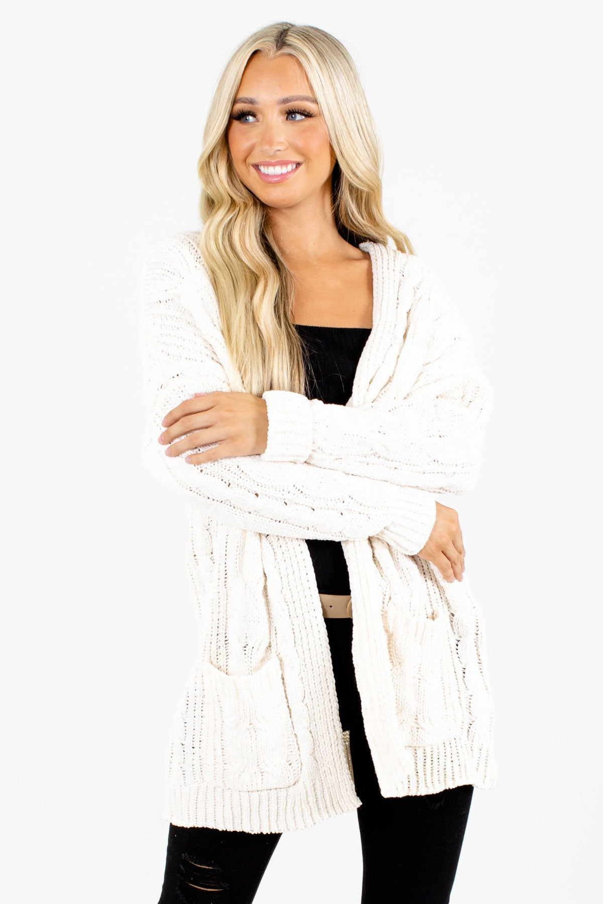 Cream Cable Knit Boutique Cardigans for Women