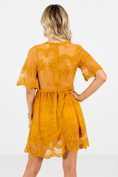 Mustard Yellow Lace Overlay Mini Party Dresses for Special Occasions