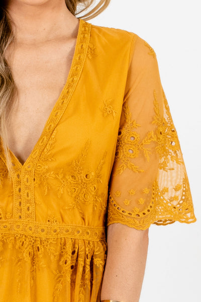 Mustard Yellow Cute Floral Lace Semi Sheer Mini Dresses Boutique