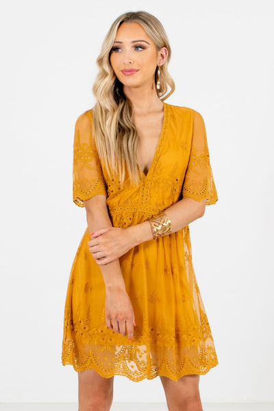 Mustard Yellow Crochet Lace Overlay Mini Dresses