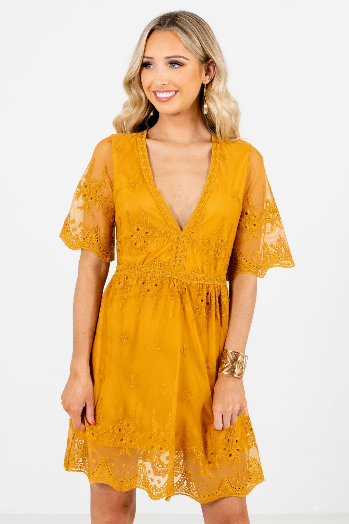 Mustard Yellow Cute Floral Crochet Lace Overlay Mini Dress