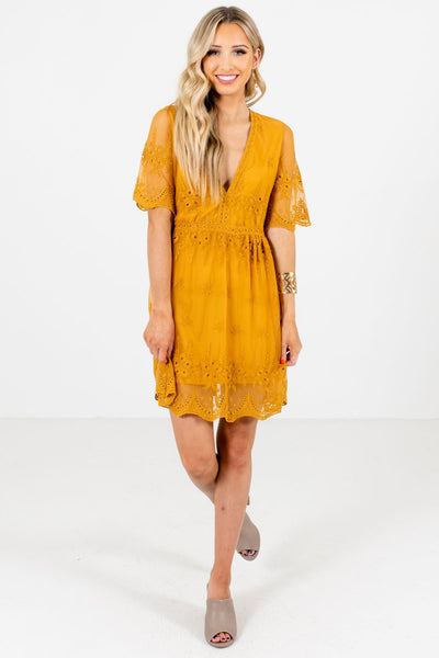 Mustard Yellow Lace Overlay Mini Dresses Affordable Online Boutique