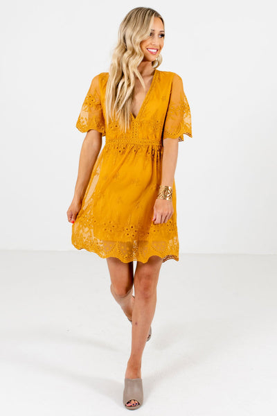Mustard Yellow Cute and Comfortable Boutique Mini Dresses for Women