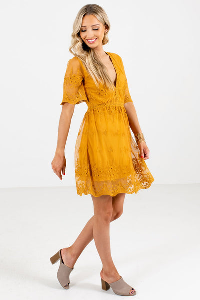 Mustard Yellow Cute Overlay Lace Boutique Mini Dresses