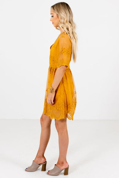 Mustard Yellow Cute Floral Lace Overlay Mini Dresses for Parties