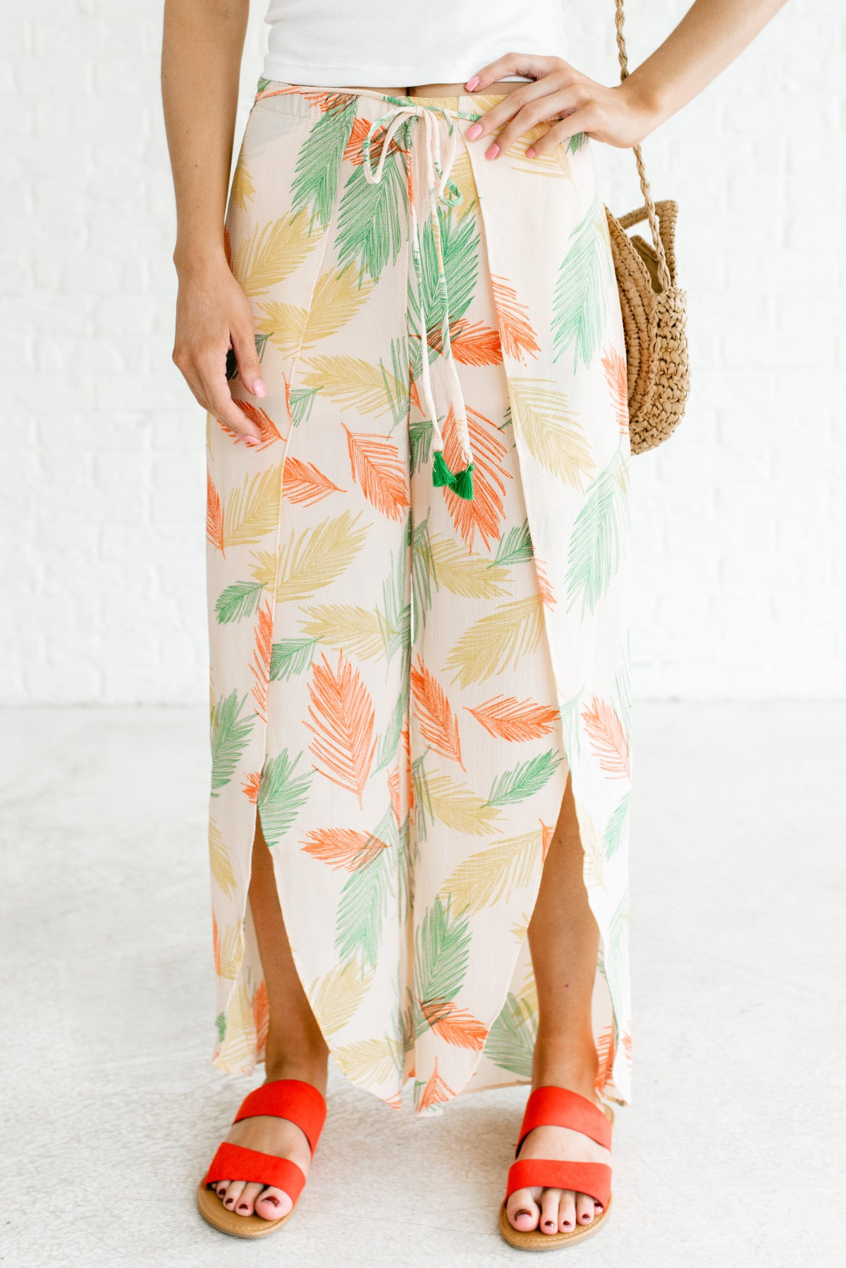 Light Peach Pink Feather Patterned Boutique Pants for Women