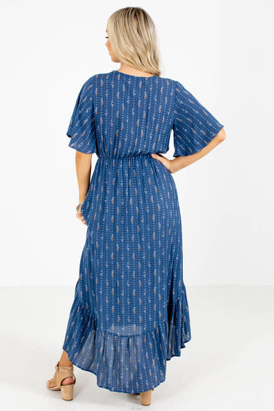 Women's Blue High-Low Hem Boutique Midi Dress