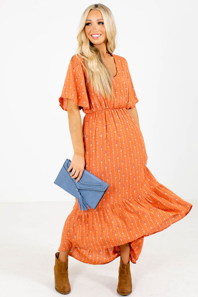 Orange Floral Patterned Boutique Midi Dresses for Women
