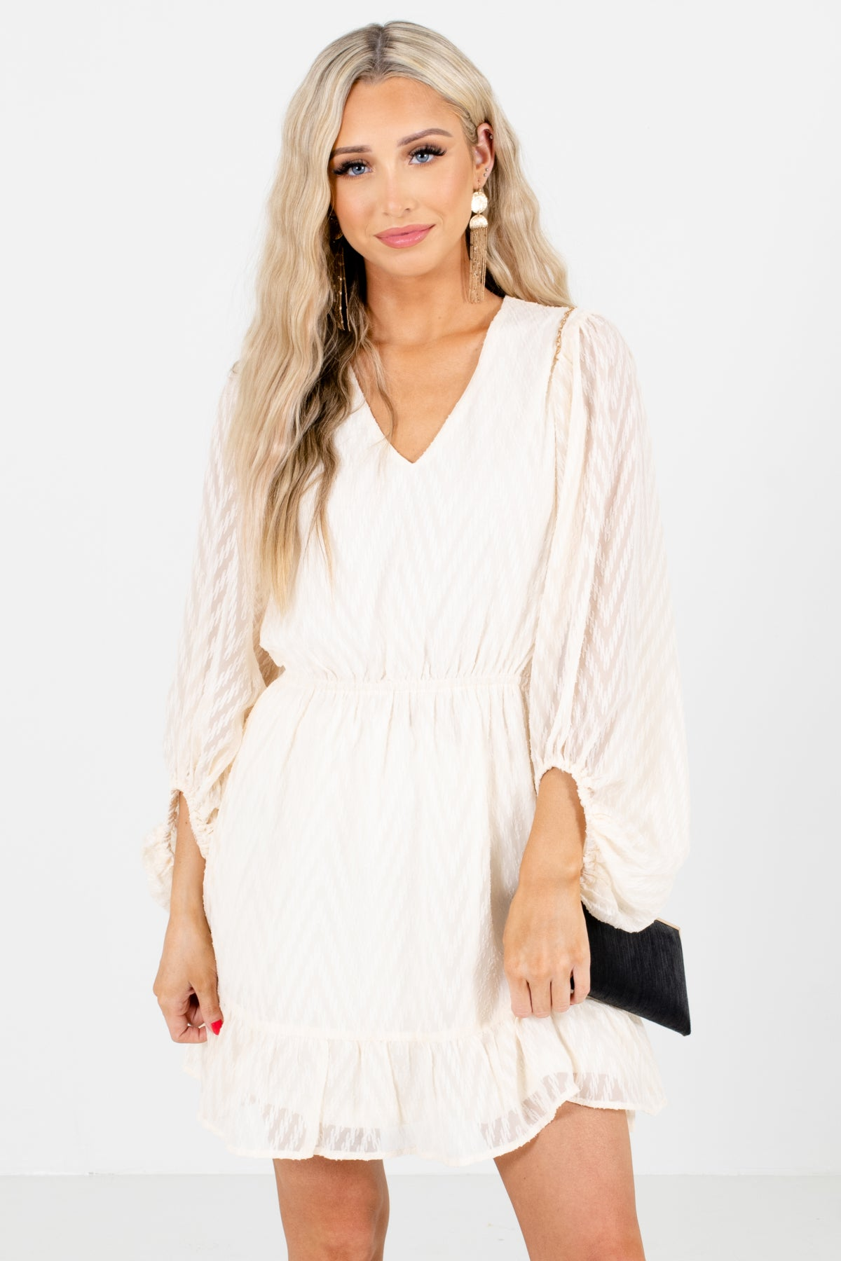 Ivory V-Neckline Boutique Mini Dresses for Women