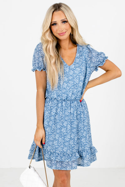 Blue Ruffle Accented Boutique Mini Dresses for Women