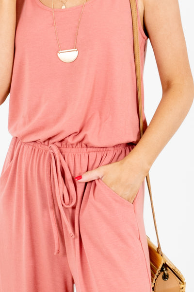 Women's Pink Drawstring Waistline Boutique Jumpsuit