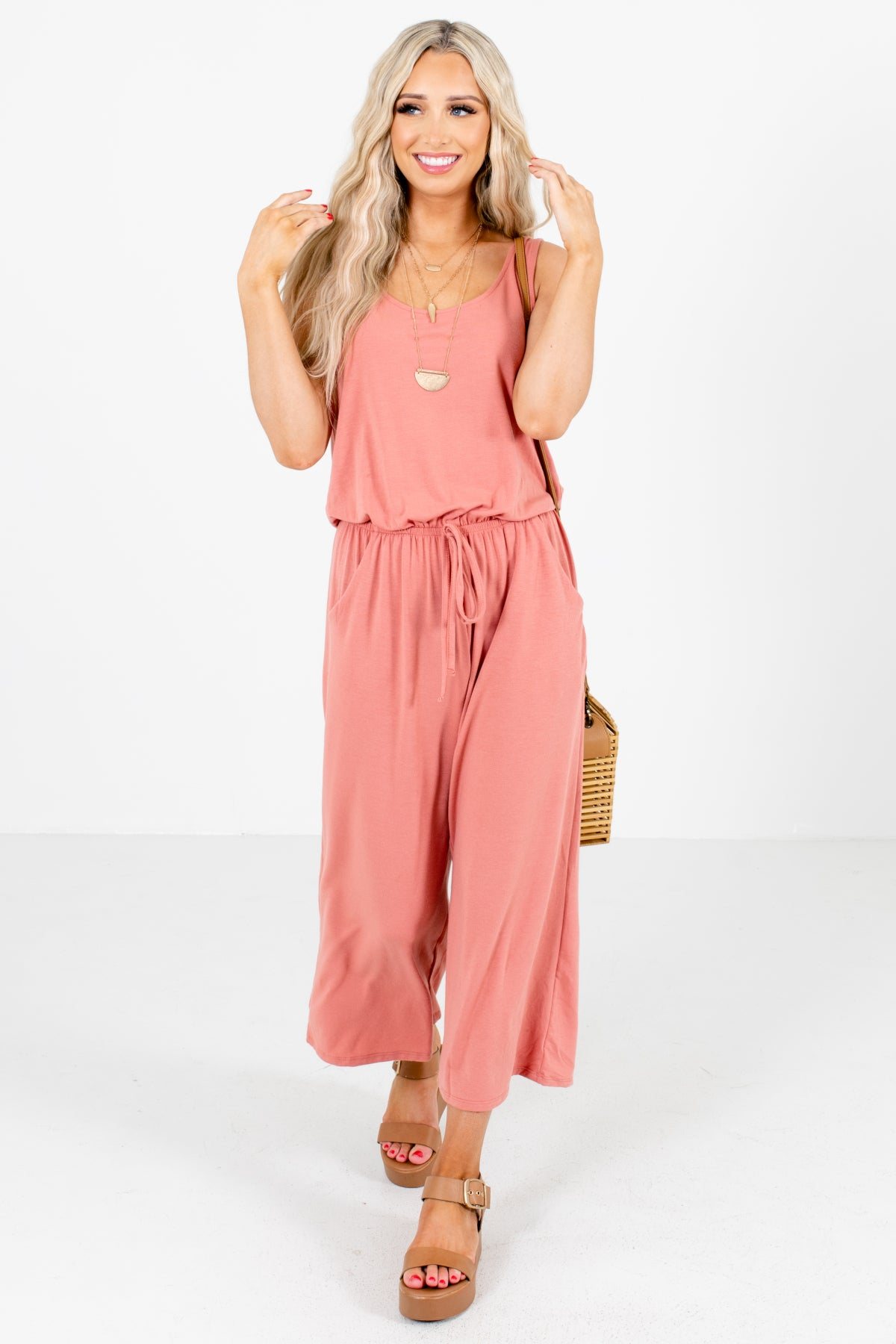 Pink Tank Style Boutique Jumpsuits for Women