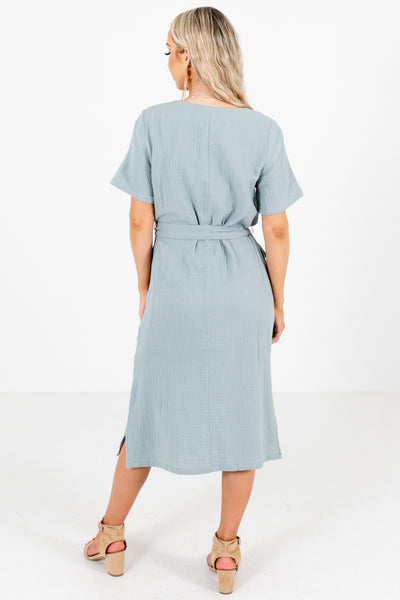 Blue Boutique Midi Dresses with Pockets for Women