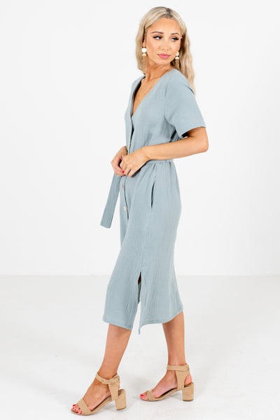 Women's Blue Side Hem Slit Boutique Midi Dress