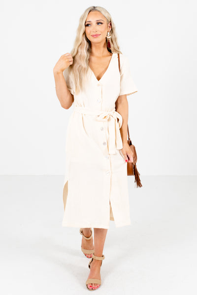 Cream Button-Up Front Boutique Midi Dresses for Women