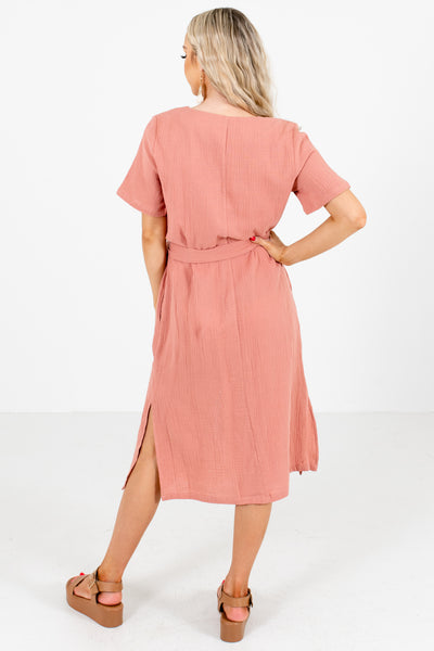 Women's Pink High-Quality Material Boutique Midi Dress