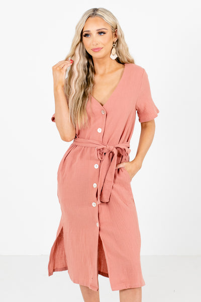 Pink Short Sleeve Boutique Midi Dresses for Women