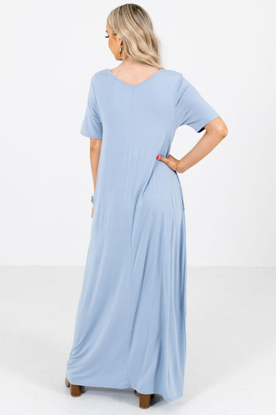 Women's Blue Lightweight Stretchy Boutique Maxi Dress