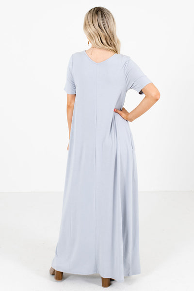 Women's Gray Boutique Maxi Dresses with Pockets