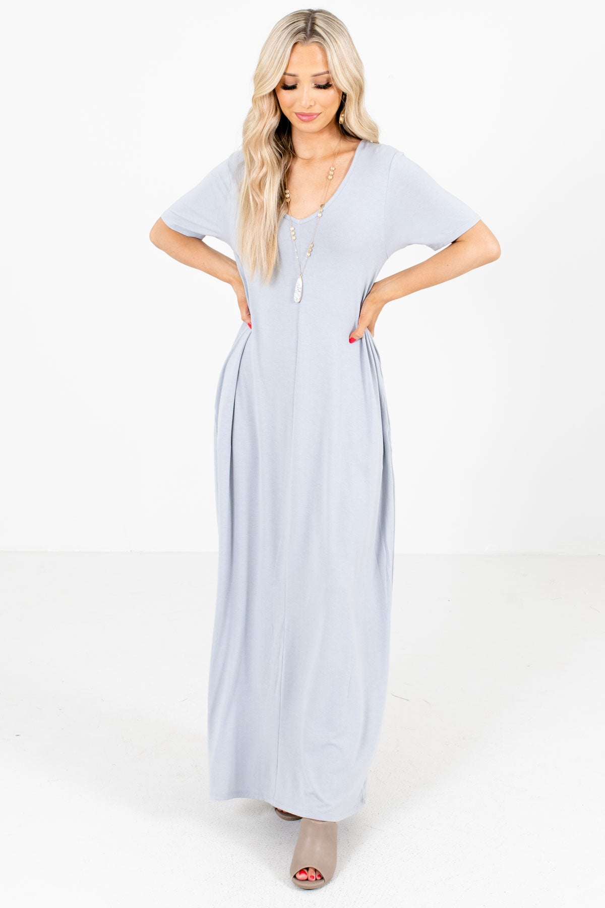 Gray V-Neckline Boutique Maxi Dresses for Women
