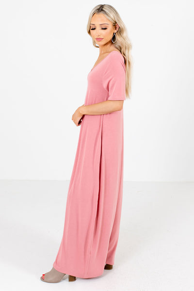Women's Pink Short Sleeve Boutique Maxi Dress