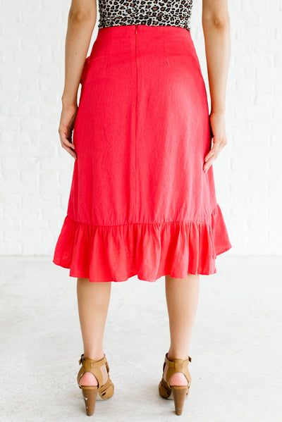 Women's Hot Pink Ruffled High-Low Hem Boutique Skirt