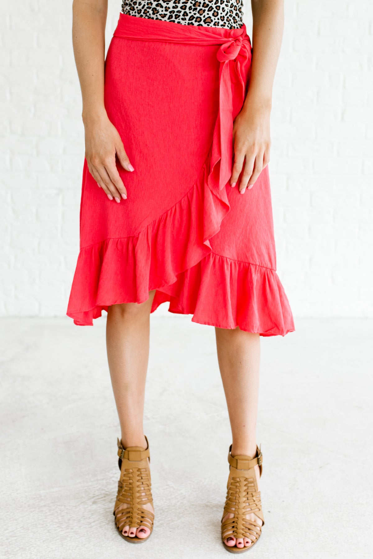 Hot Pink Faux Wrap Style Boutique Knee-Length Skirts for Women