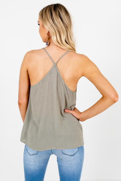 Dark Sage Green Women's Crochet Lace Accented Boutique Tank Top