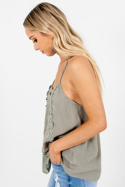 Dark Sage Green High-Low Hem Boutique Tank Tops for Women