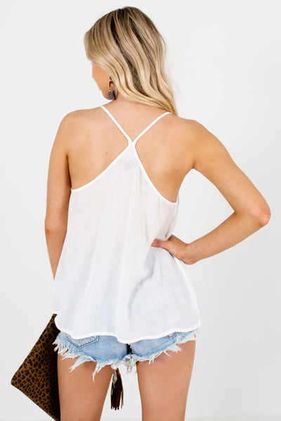 Women's White Crochet Lace Accented Boutique Tank Top