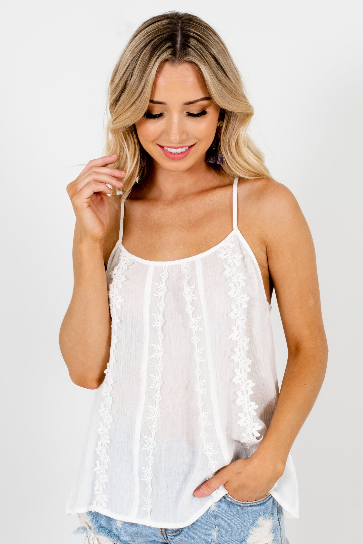White Racerback Style Boutique Tank Tops for Women