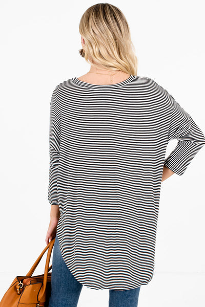 Women's Black and White High-Low Hem Boutique Tops