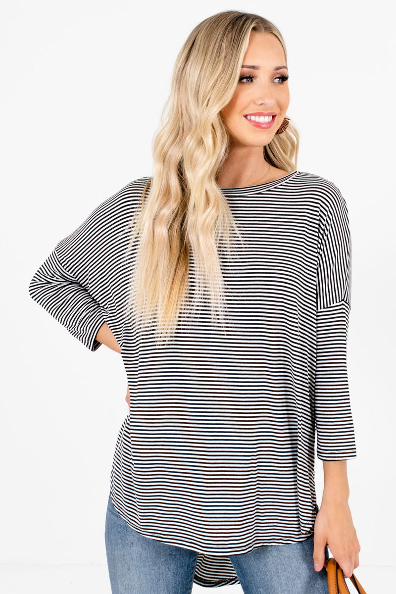 Living for Comfort Black Striped Top