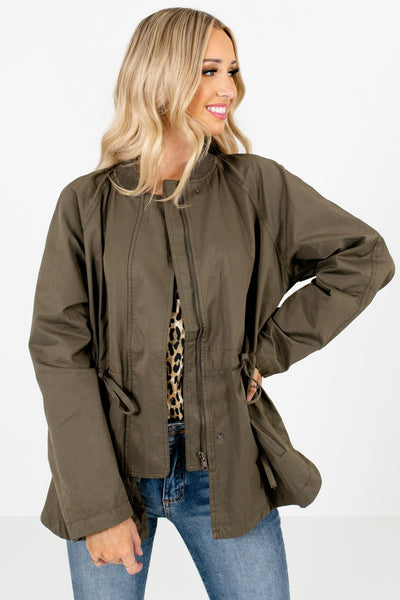 Olive Green Zip-Up Front Boutique Jackets for Women