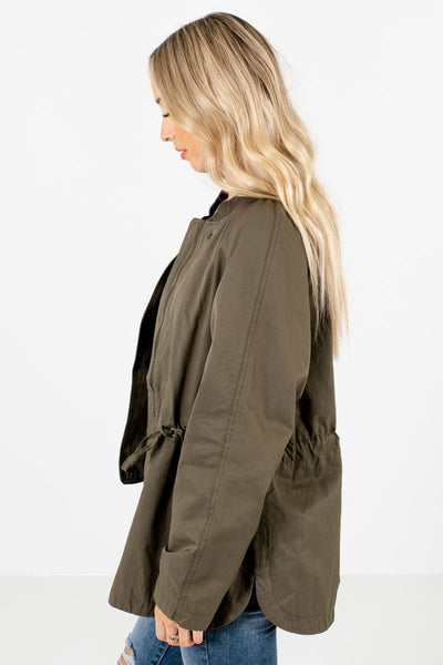 Olive Green Fully Lined Boutique Jackets for Women