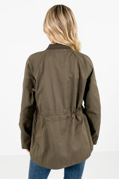 Women's Olive Green Drawstring Waistline Boutique Jacket