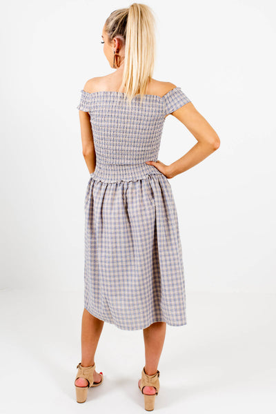 Blue Yellow Plaid Off Shoulder Smocked Midi Dresses