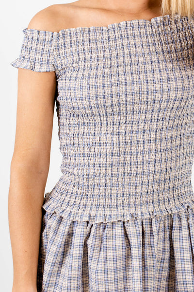 Blue Yellow Plaid Smocked Off Shoulder Dresses for Women