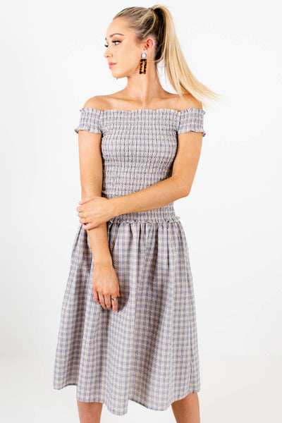 Blue Yellow Plaid Cute Smocked Off Shoulder Midi Dresses
