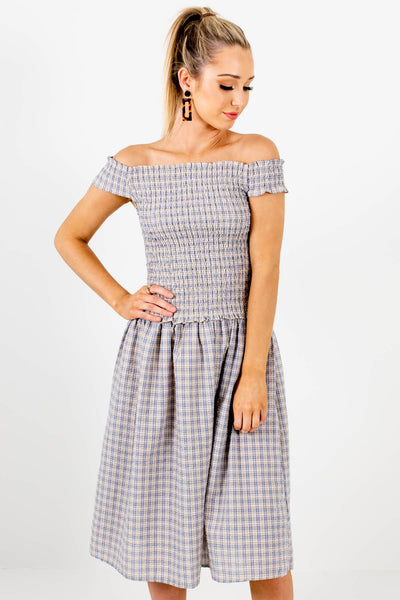 Blue Yellow Plaid Smocked Off Shoulder Midi Dresses for Women