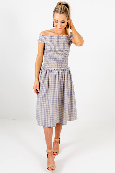 Blue Yellow Plaid Gingham Smocked Off Shoulder Midi Dress